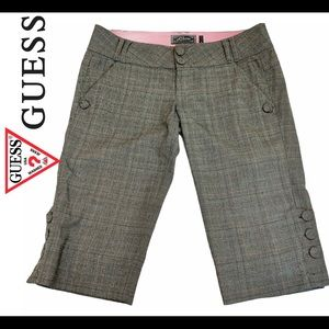 Guess gray with pink stripe Bermuda plaid shorts